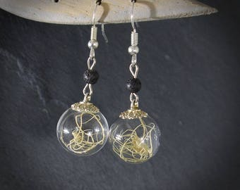 Pearl Earrings inspired by nature - gem - jewelry poetic - cabinet of curiosities - color silver - fairy terrarium