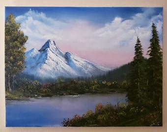 Bob Ross Replica pink sky original painting