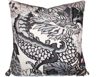 Schumacher Chiang Mai Dragon Smoke Pillow Cover - Decorative Pillow - Throw Pillow - Both Sides or Solid Linen Back - ALL SIZES AVAILABLE