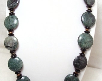 Natural Moss Jade Necklace with Shiny Glass