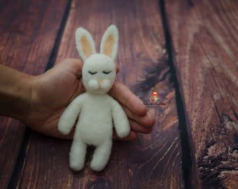 Felted White Bunny Newborn Photography Prop