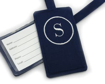 Personalized Mens Circle Monogram Embroidered Fabric Luggage Tag, Bag Tag, Custom Travel Gift