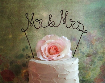 Mr & Mrs Wedding Cake Topper, Wedding Cake Decoration, Rustic Wedding Cake Decoration, Bridal Shower Cake Topper, Anniversary Cake Topper