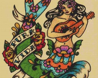 Tattoo Cross Stitch Kit ' Pura Vida' By Illustrated Ink. - Old school Tattoo Mermaid Needlecraft Kit - Pure Life