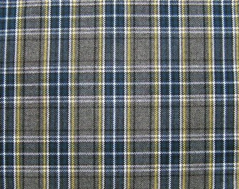 Blue Gray Plaid Fabric UPHOLSTERY Home Decorating CRAFTS
