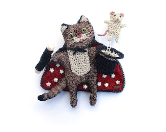 Magician cat brooch - cat and mouse jewelry, animal brooch, whimsical jewelry