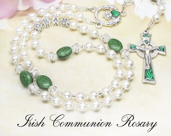 Irish Communion Rosary Personalized with Solid Sterling Silver 925 stamped Letters and Swarovski Pearls ideal First Holy Communion gift