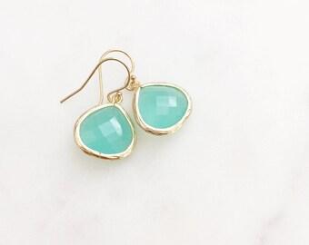 MOLLY | Aqua Dangle Earrings | Aqua Bridesmaid Earrings | Teardrop Earrings | Aqua + Gold Earrings | Aqua Crystal Teardrop Earrings