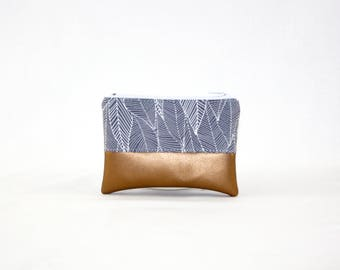 Mini bag - copper of Grey leaves, bag, cosmetic bag, purse, make-up bag, vegan, minimalist, pouch, pencil case,.