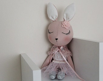 BUNNY FABRIC DOLL - Petite - Dusty Blush Pink - Simple and Chic Ballerina Theme - Heirloom Cloth Doll - Limited