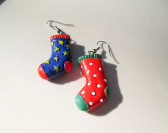 Christmas Red and Blue Stocking Earrings Vintage xmas jewelry
