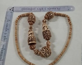 Vintage  wood bead necklace fancy carving
