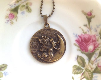 Moon Goddess Fairy Necklace. Fantasy. Whimsical. Round Medallion. Brass. Vintage Style. Gifts for Her. Boho. Flower Child. Under 15. Hippie.
