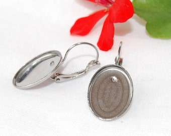Stainless Steel Oval French Clip Earring Findings - 18*13 mm