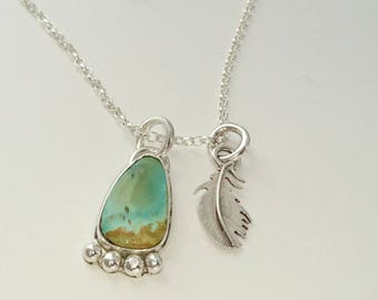 Sterling silver handmade Royston turquoise necklace with small hand pierced feather, hallmarked in Edinburgh
