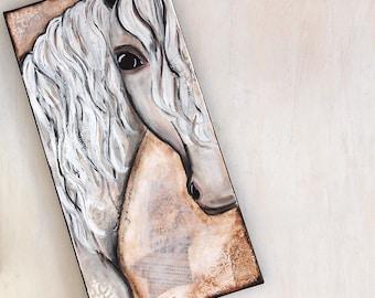 Gentle Warrior - canvas - mixed media original, art, wall art, horse lover, about 60cm x 30cm