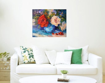 Original Oil Rose Painting, Floral Still life palette knife painting in oil, Flowers, Roses and Cherries, modern impressionist', 15x18inch