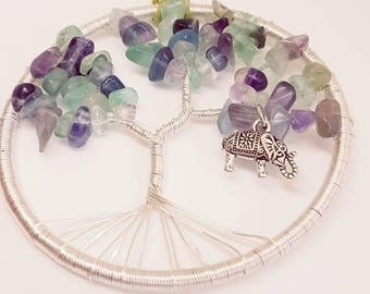 Fluorite, 3 inch, tree of life, elephant, Suncatcher, gemstones, gemstone tree, pagan, spiritual gifts, metal tree of life, lucky elephant