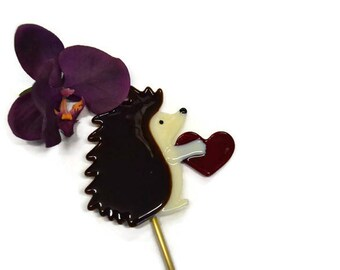 Hedgehog Plant Stake, Fused Glass, Valentine's Day Gift, Holding Heart, Garden Stake, I Love You Gift, Anniversary Gift, Engagement Gift