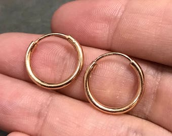 """0.5"""", Vintage gold over sterling silver loop earrings, fashion minimalist, fine 925 silver twisted hoops"""