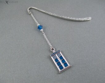 Silver and Blue Police Box - Doctor Who Tardis Inspired - Metal Bookmark