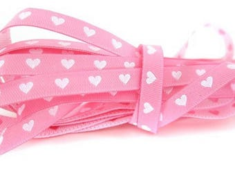 Stripe Pink White heart 7mm the meter farbenmix Ribbon