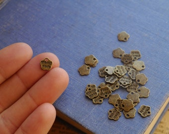 "100 pcs Antique Bronze""Handmade"" Small Charms Drops 8mm (BC2507)"