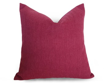 FREE SHIPPING, Throw Pillow Covers, Raspberry Pillow, Solid Pink Pillow, Dark Pink, Herringbone, Pillow Sham, Cushions, Spring Decor, NEW
