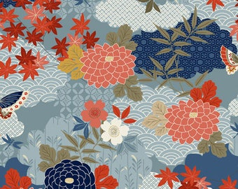 Dahlia Fabric, Floral Fabric - Floral Montage Japanese Garden Andover Fabric 1856 B Blue - Priced by the Half Yard