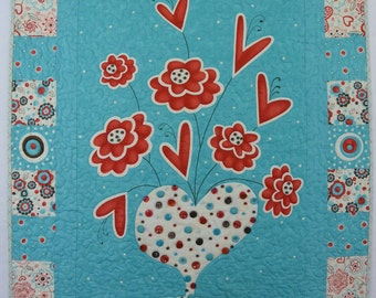 Hearts and Flowers Embellished Quilt