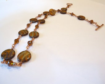 Rust Czech Glass Bead Wire Wrapped Necklace