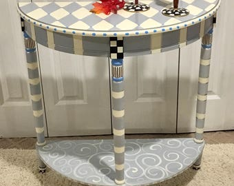 Whimsical Painted Furniture, Harlequin Painted Table, Half Moon Crescent  Table, Whimsical Painted Furniture, Harlequin Painted Table
