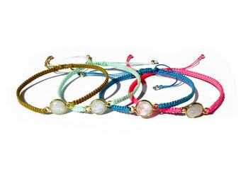 moonstone connector knotted cord bracelet / friendship bracelet / gemstone adjustable bracelet / macrame bracelet
