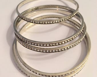 Vintage sterling silver five hoop bangle bracelets with crystals