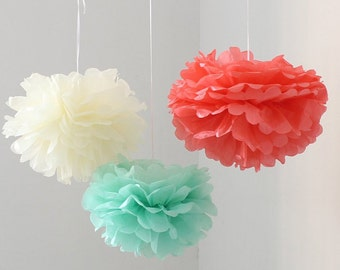 12pcs Mixed Mint Coral Ivory DIY Tissue Paper Flower Pom Poms Wedding Birthday Shower Party Hanging Decoration