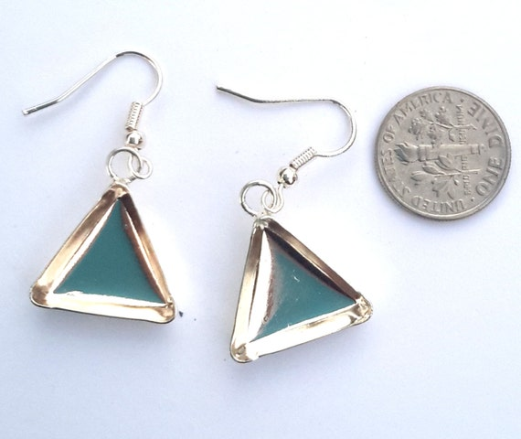 3/4 in triangle silver plated earring bezels by Lisa Pavelka