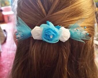 Exquisite Blue and White Rose Hair Barrette- Bridal Barrette- Valentine's Day Barrette- Any Occasion