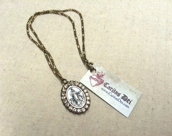 Our Lady Untier of Knots Rhinestone Necklace - Blessed Mother Necklace -  BRASS or SILVER - Rhinestone Necklace - Virgin Mary Necklace
