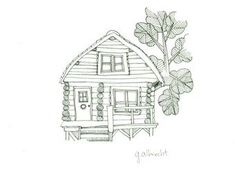 Forest Cabin 2 | Illustration | 8X8 art print