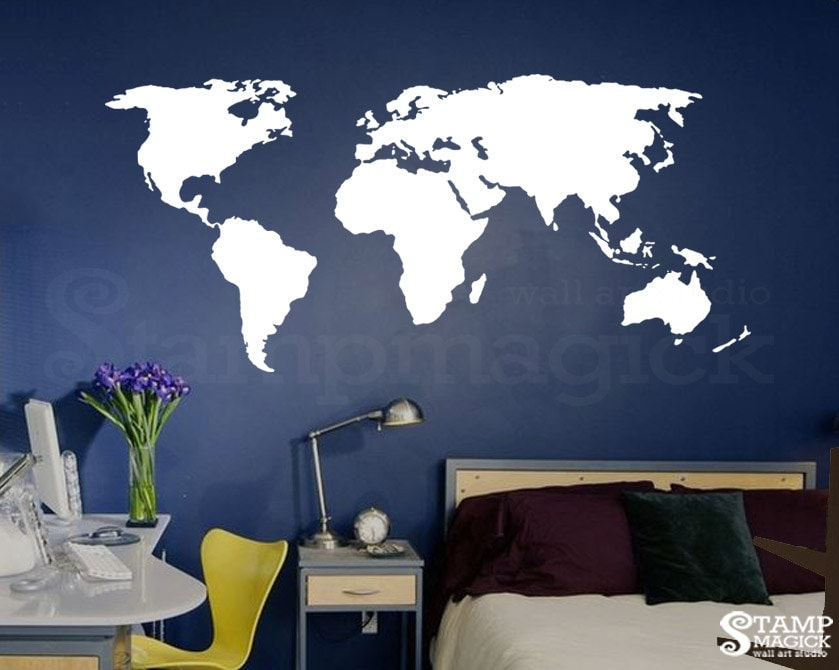 World Map Wall Decal for Home or Office chalkboard white