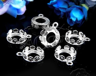1pcs 925 Sterling Silver Flower Crown Bezel Pendant Setting for 10mm Cabochon, 1037ws, White Silver Color, Israel, Beautiful Floral Bezel
