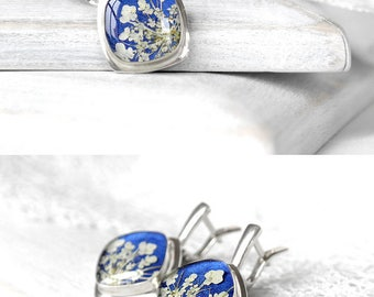 Royal blue earrings Sterling silver earrings Square earrings wedding anniversary gifts|for|her One of a kind earrings for wife jewelry resin