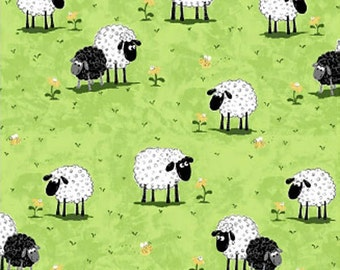 Sheep on Green Grass 100% Cotton Fabric - By The Yard!