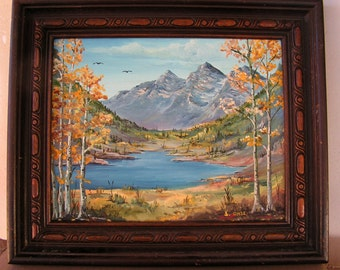 Mountain Landscape Painting Water Canyon Trees Small Framed Original Painting Signed OHSE