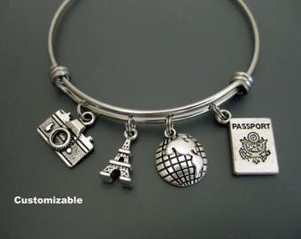 Paris Bracelet / Paris Bangle / France / Eiffel Tower Bangle / Paris Lover / Travel Bracelet / Wanderlust Bracelet / Adjustable Charm Bangle