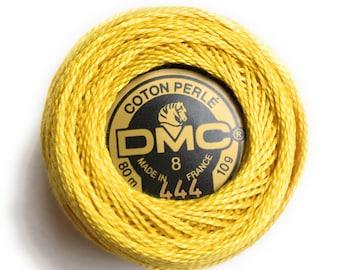 DMC Perle Cotton Thread Size 8 Dark Lemon Yellow 444