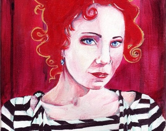 SALE! Anneke Bright red portrait painting with black and white stripes and gold detail ORIGINAL 8x10 Acrylic Painting anneke van giersbergen