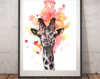 Giraffe Nursery Art Print from Original Watercolor Painting Art Print 13x19 Print Kids Room Wall Art Giraffe Nursery Art Giraffe Painting