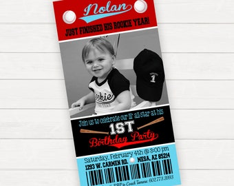 Baseball Invitation, Little Rookie, Baseball Birthday Invitation, Baseball Ticket Invitation, Baseball Birthday Baseball Party, Photo Invite