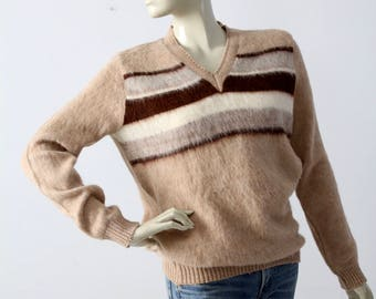 vintage 70s alpaca sweater, striped pullover
